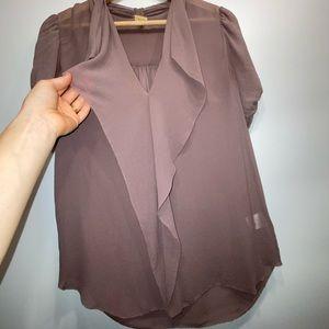 Aritzia silk short sleeve blouse ruffle mauve XS